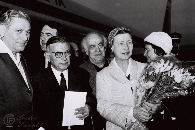 Simon de Beauvoir with Jean-Paul Sartre, Leah Goldberg and Avraham Shlonsky