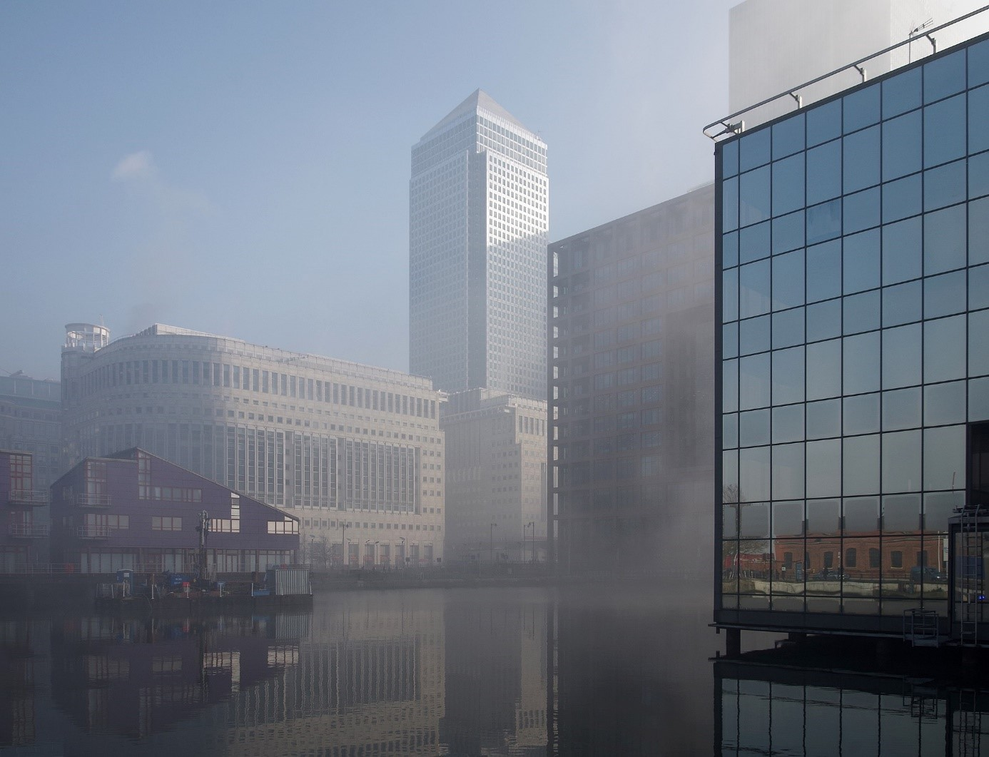 Smog in Canary Wharf, London